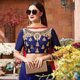 Groovy Dark Blue Colored Party Wear Embroidered Silk Lehenga Choli