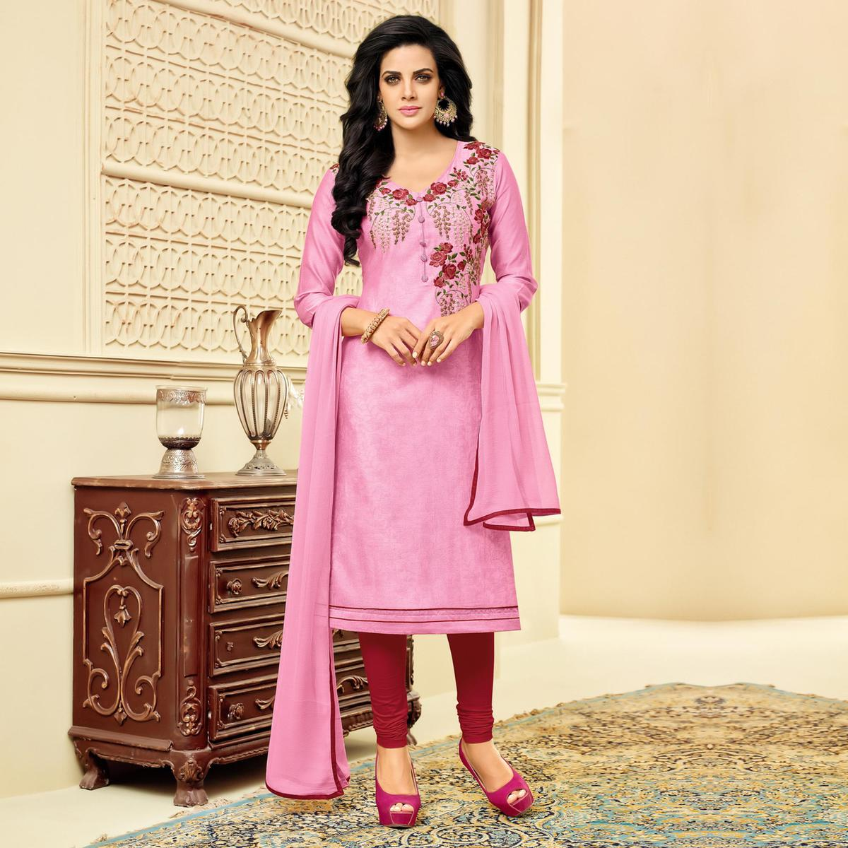 Gorgeous Pink Embroidered Chanderi Salwar Suit