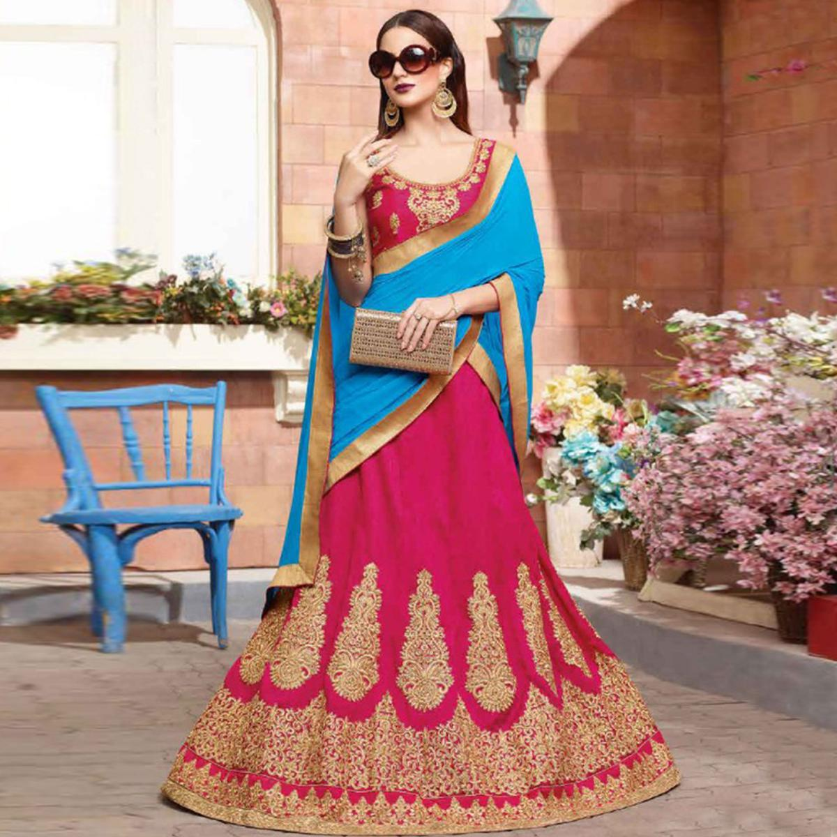 Refreshing Deep Pink Colored Party Wear Embroidered Silk Lehenga Choli