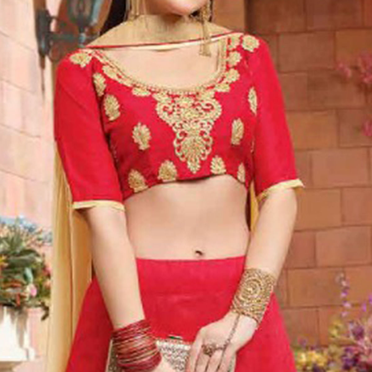 Elegant Deep Red Colored Party Wear Embroidered Silk Lehenga Choli