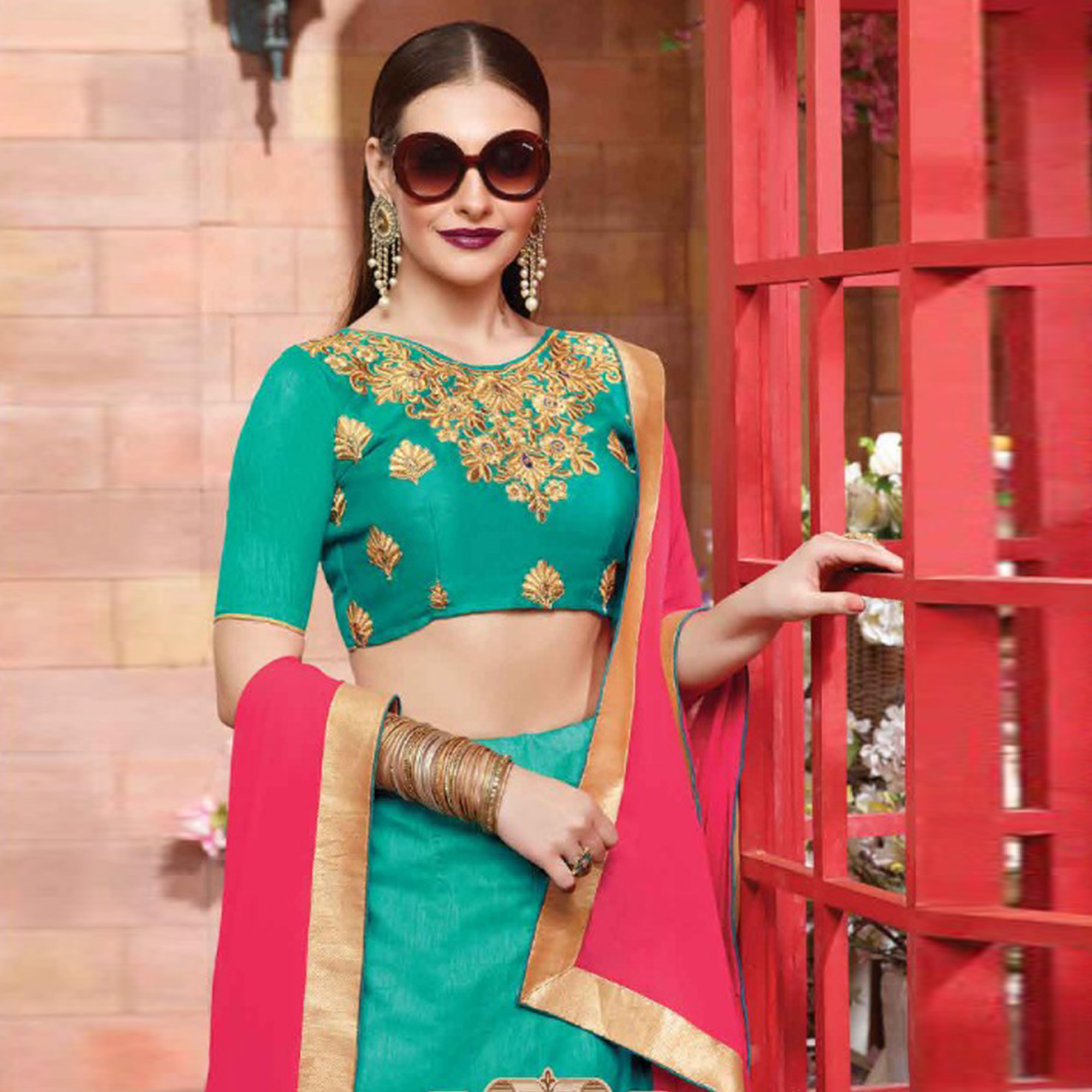 Alluring Turquoise Colored Party Wear Embroidered Silk Lehenga Choli