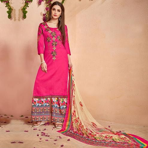 Attractive Deep Pink Colored Party Wear Embroidered Cotton Palazzo Suit