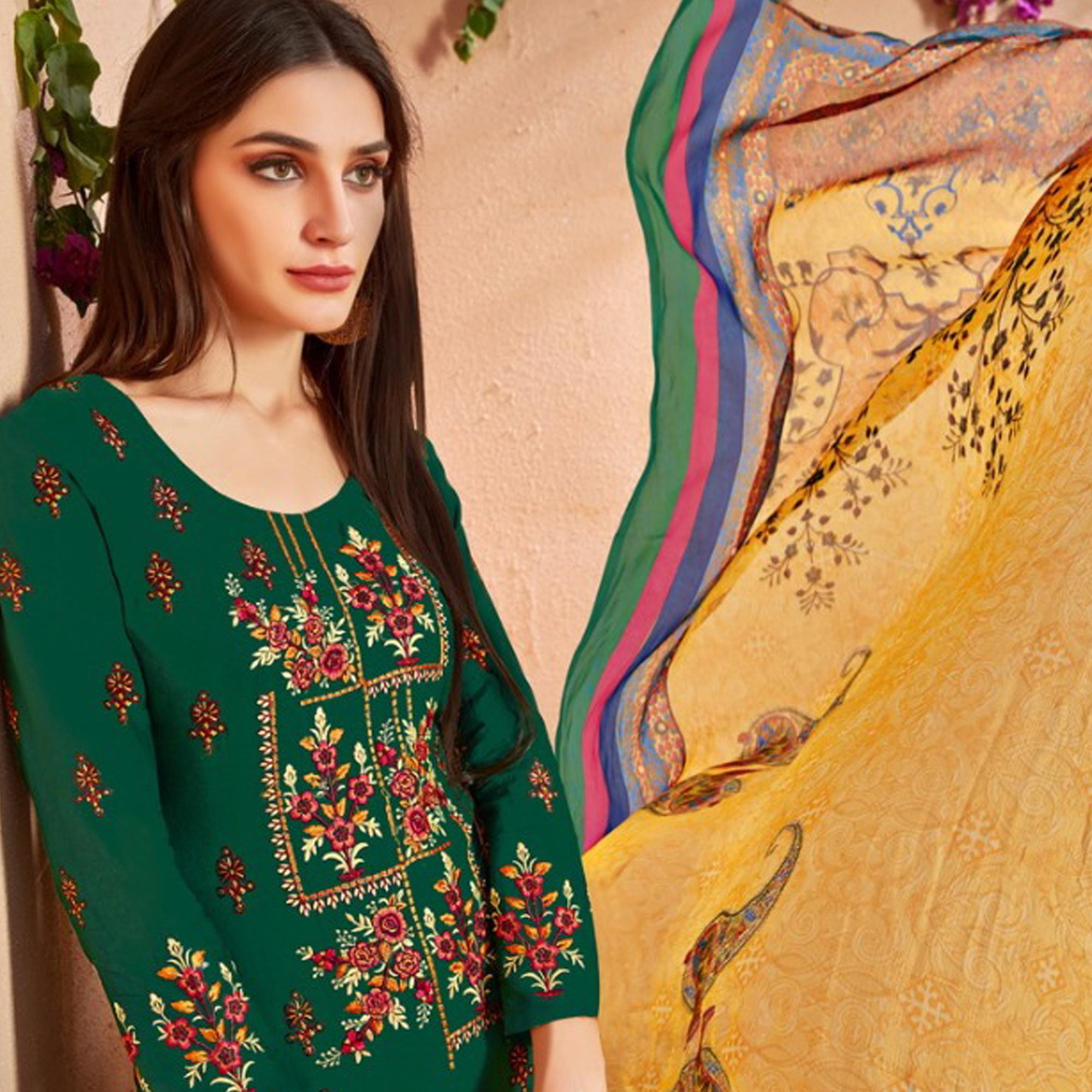 Beautiful Green Colored Party Wear Embroidered Cotton Palazzo Suit