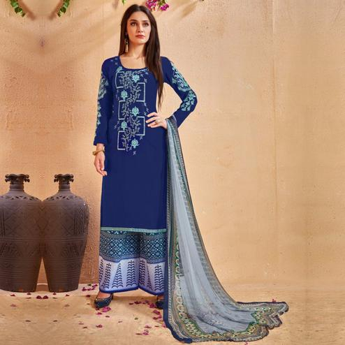 Entrancing Navy Blue Colored Party Wear Embroidered Cotton Palazzo Suit