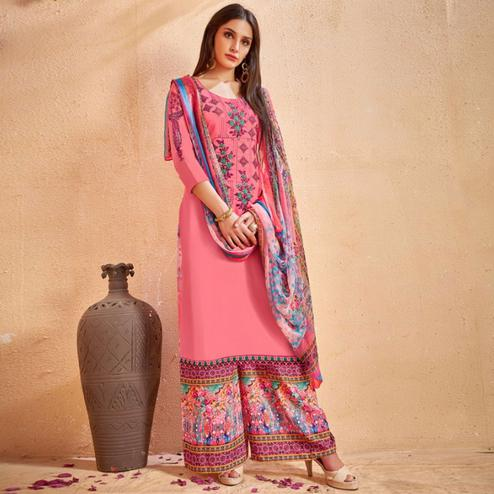 Impressive Pink Colored Party Wear Embroidered Cotton Palazzo Suit