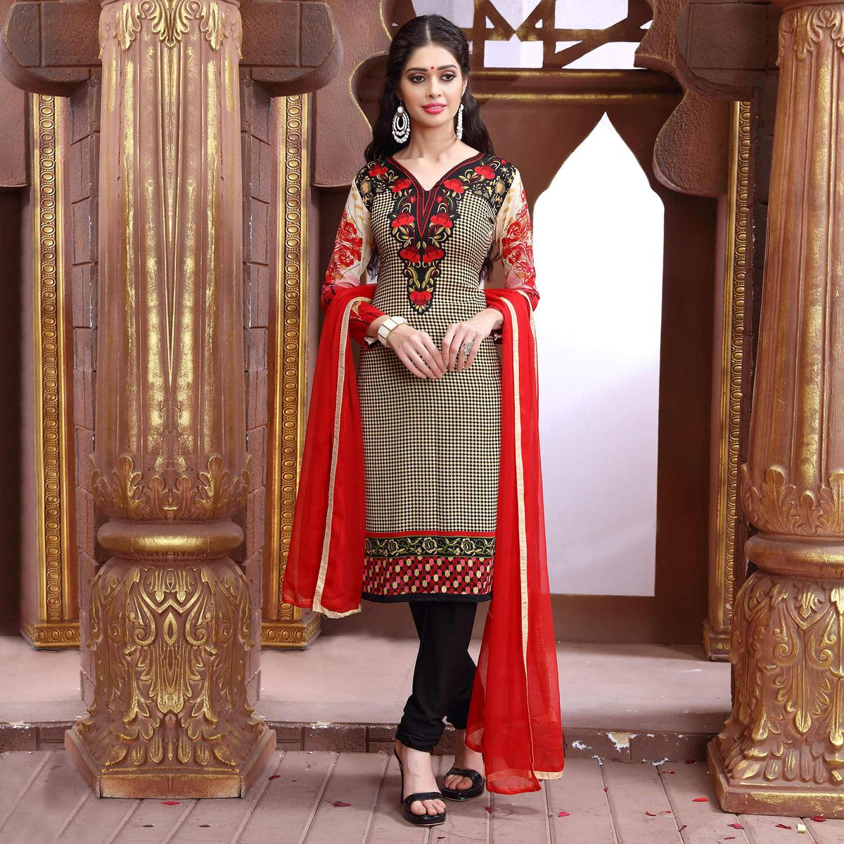 440eb35b7e Buy Red - Cream Pritned Cotton Dress Material for womens online India, Best  Prices, Reviews - peachmode