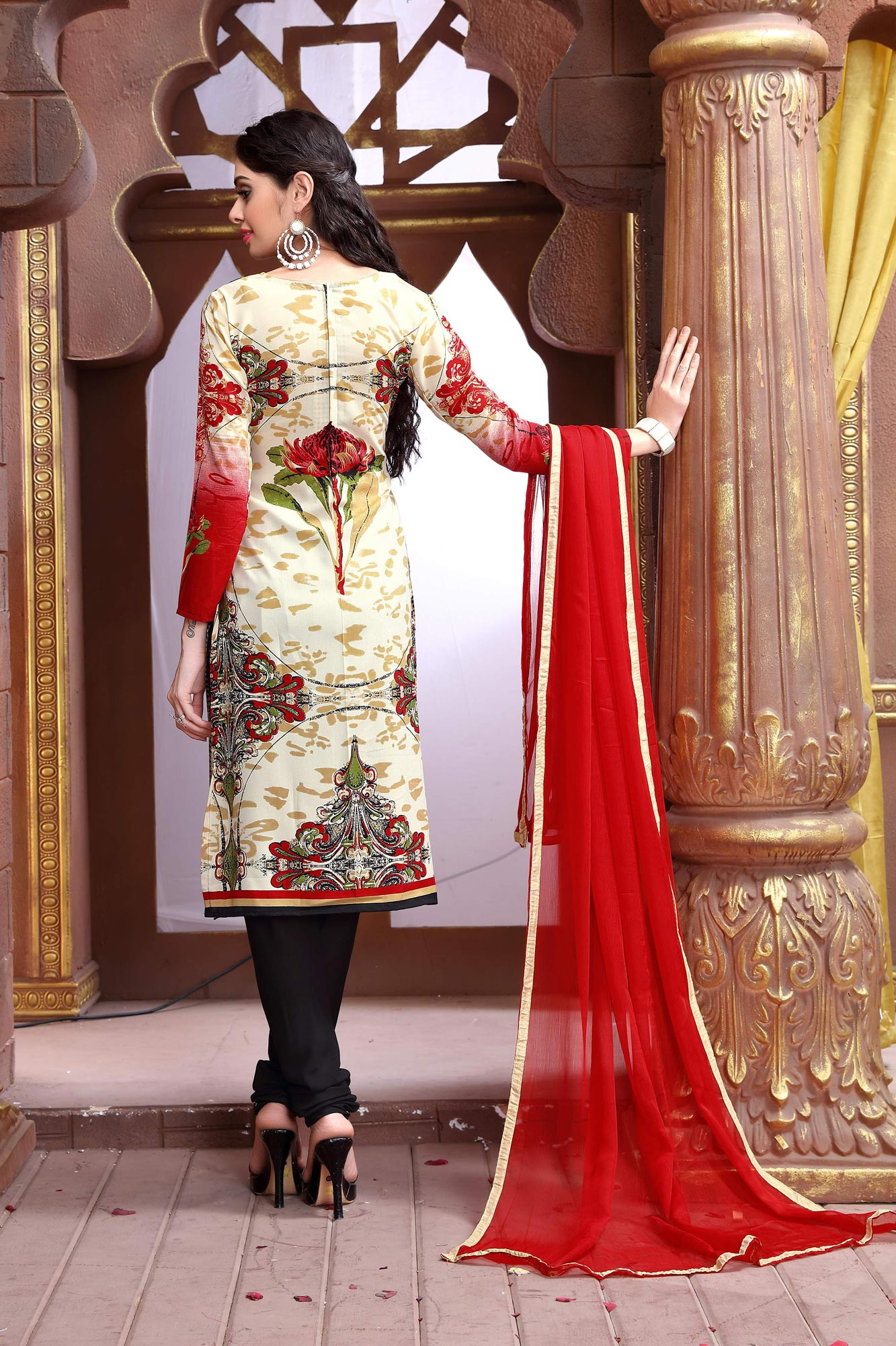 Red - Cream Cotton Dress Material