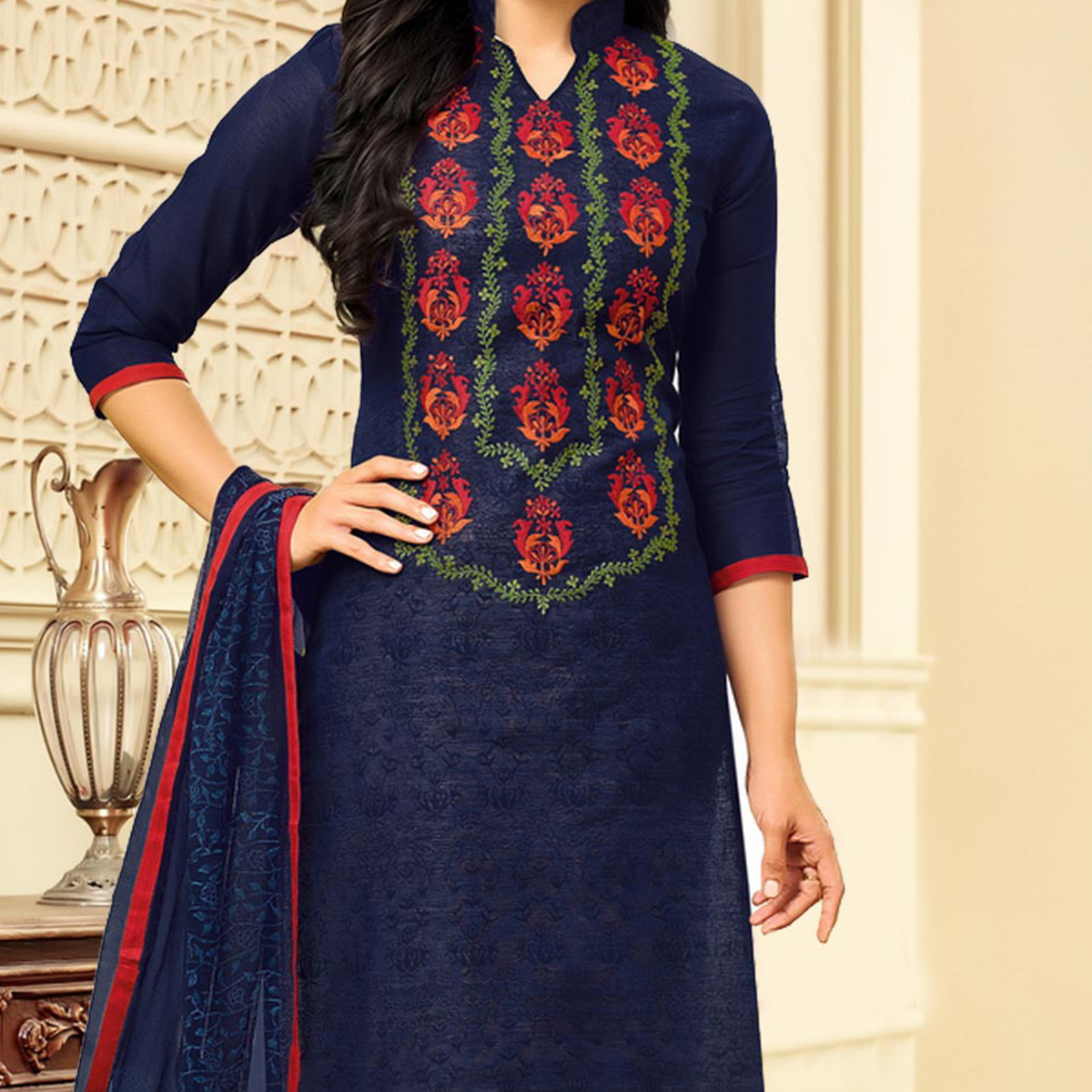 Impressive Navy Embroidered Chanderi Salwar Suit