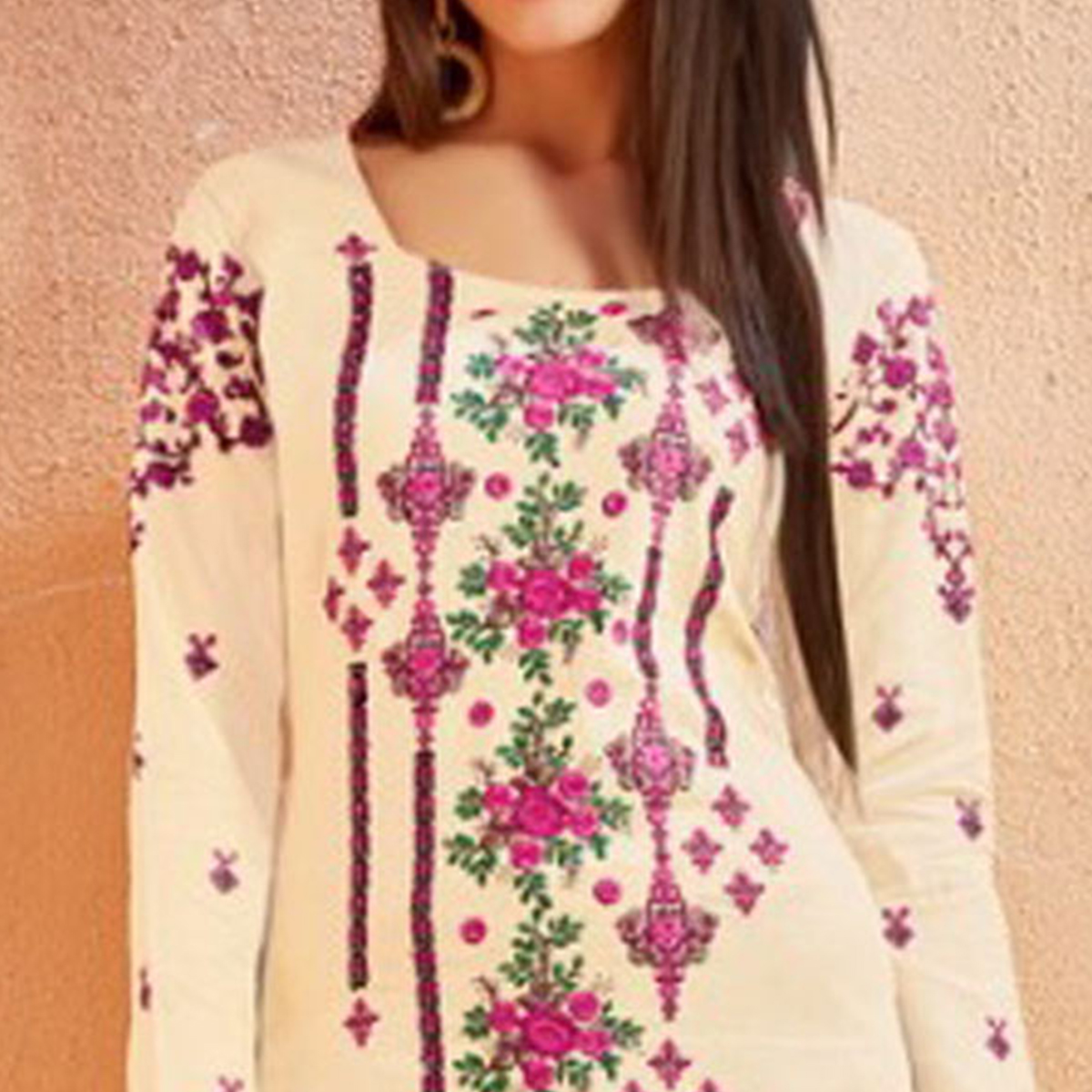 Gleaming Cream Colored Party Wear Embroidered Cotton Palazzo Suit