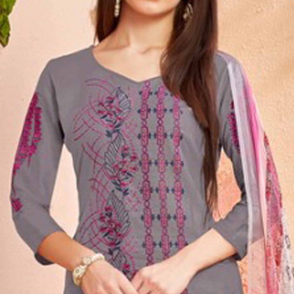 Arresting Grey Colored Party Wear Embroidered Cotton Palazzo Suit