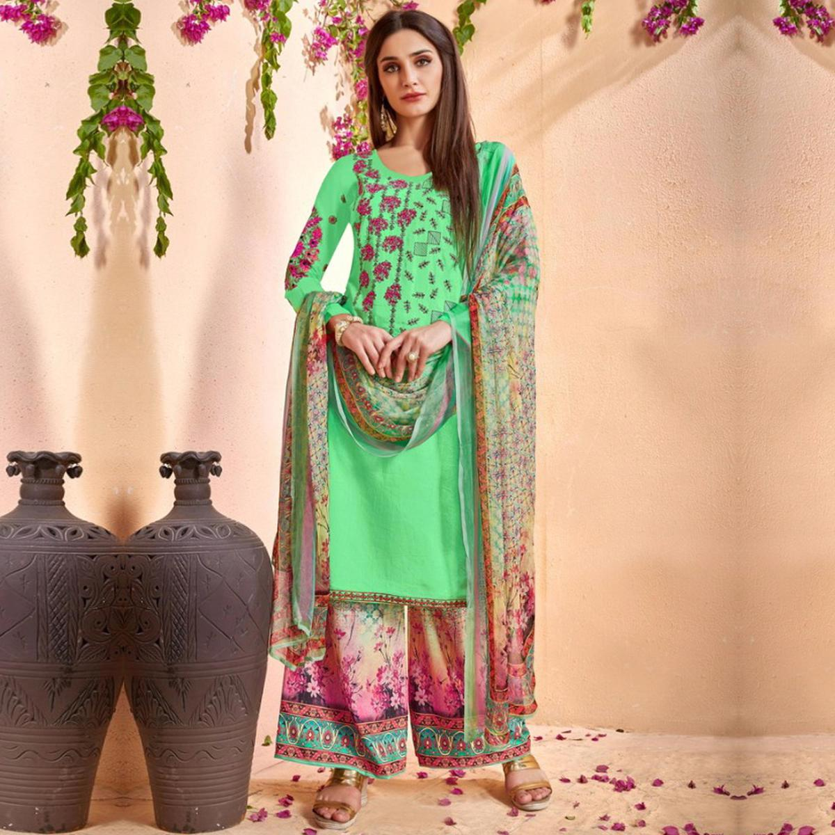 Starring Light Green Colored Party Wear Embroidered Cotton Palazzo Suit
