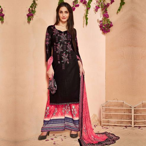 Blissful Black Colored Party Wear Embroidered Cotton Palazzo Suit