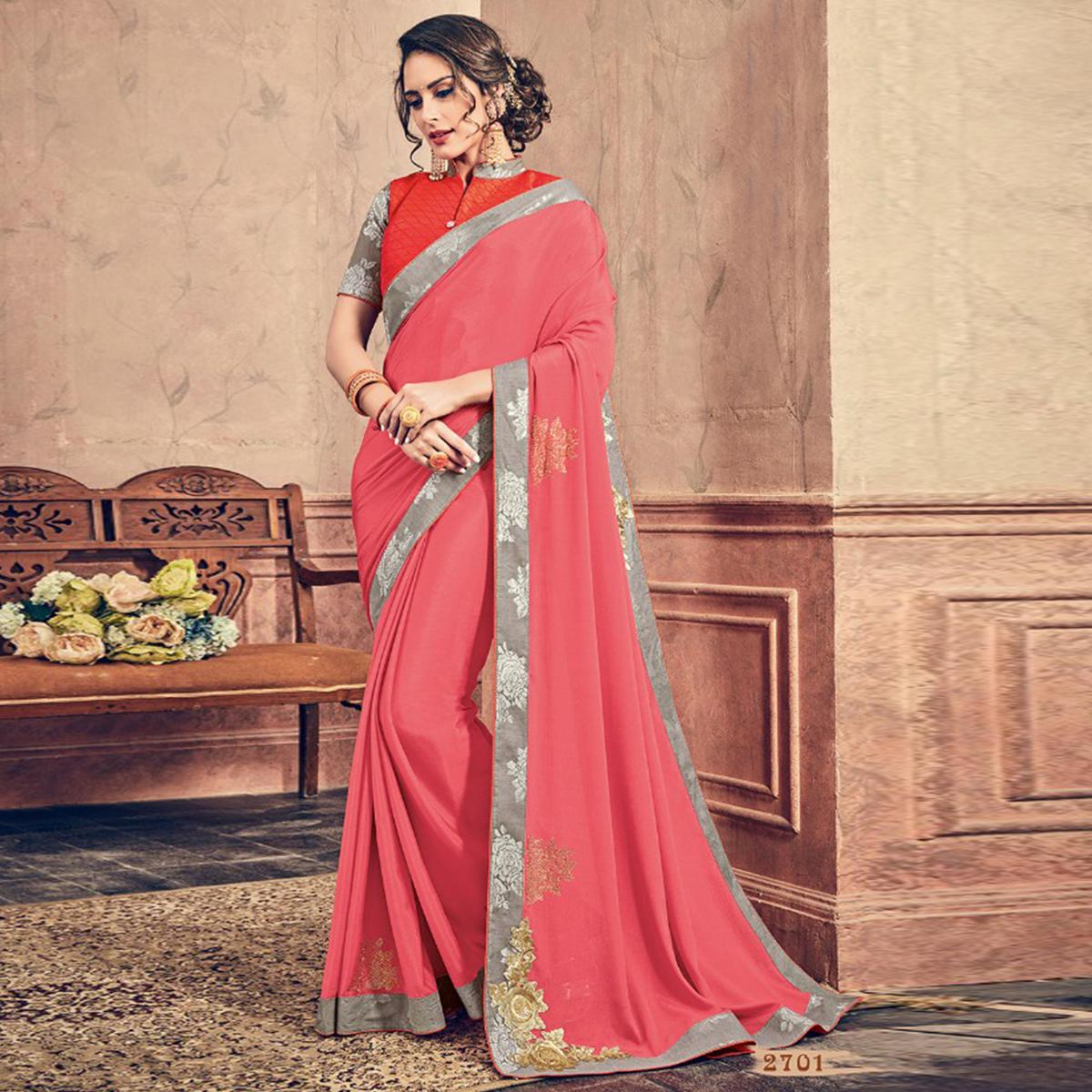 Desirable Pink & Grey Colored Party Wear Embroidered Chiffon Saree