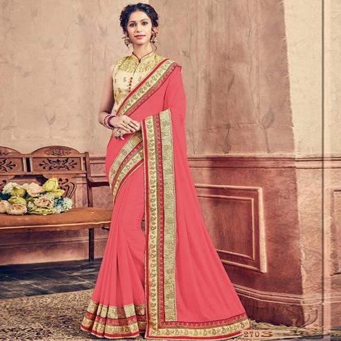 Demanding Pink Colored Party Wear Embroidered Georgette Saree