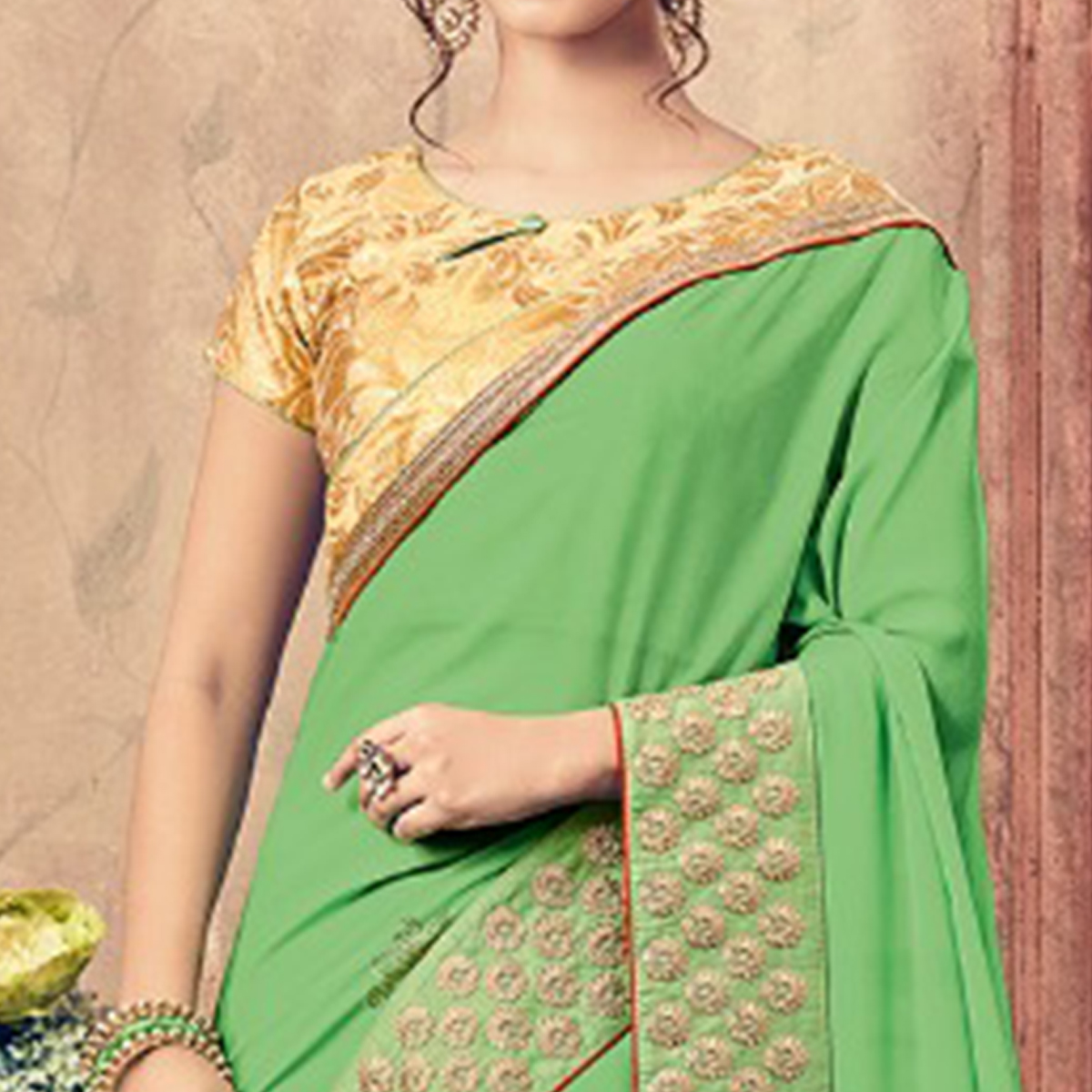 Pleasant Green Colored Party Wear Embroidered Georgette Saree