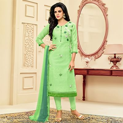 Regal Green Embroidered Chanderi Salwar Suit