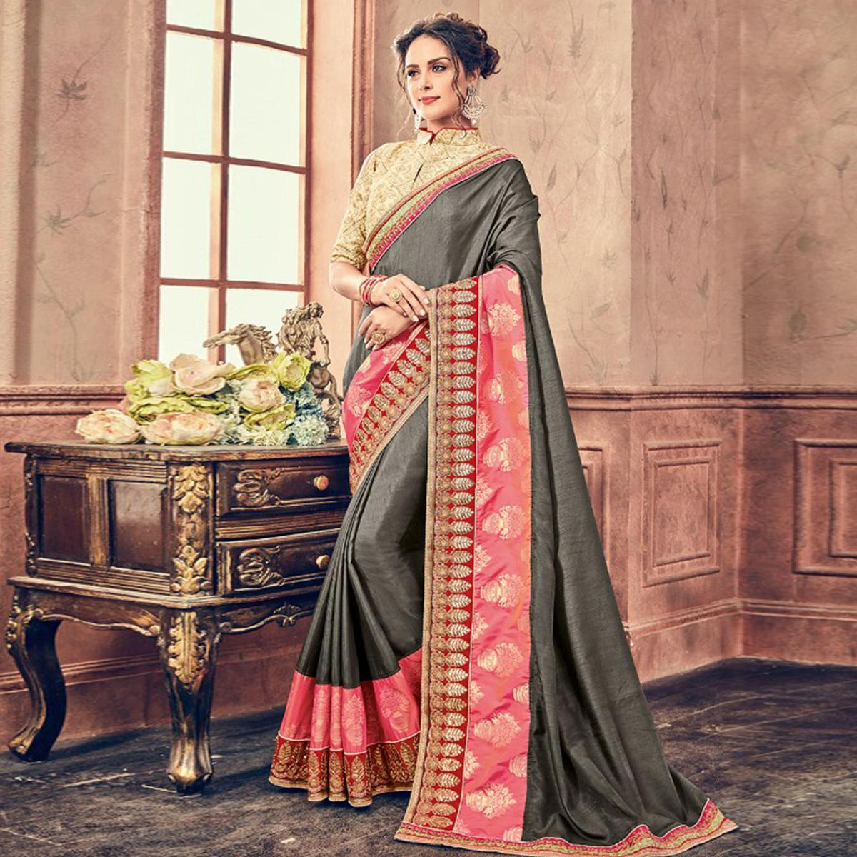 Elegant Grey & Pink Colored Party Wear Embroidered Georgette Saree