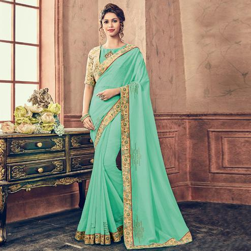 Alluring Turquoise & Beige Colored Party Wear Embroidered Chiffon Saree
