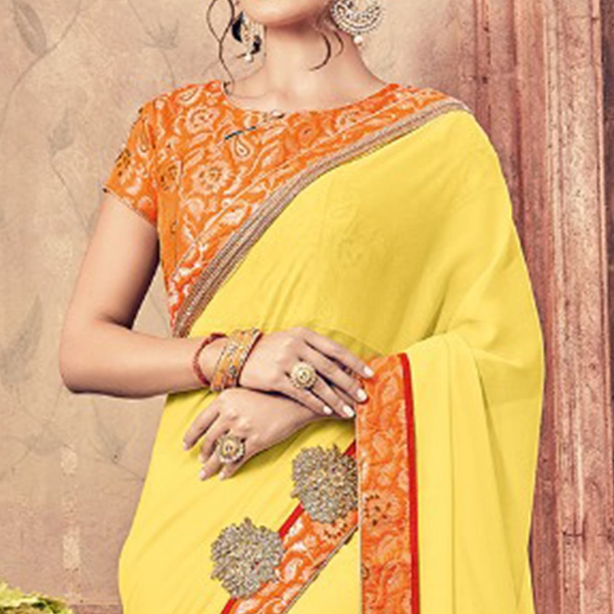Sensational Yellow Colored Party Wear Embroidered Georgette Saree