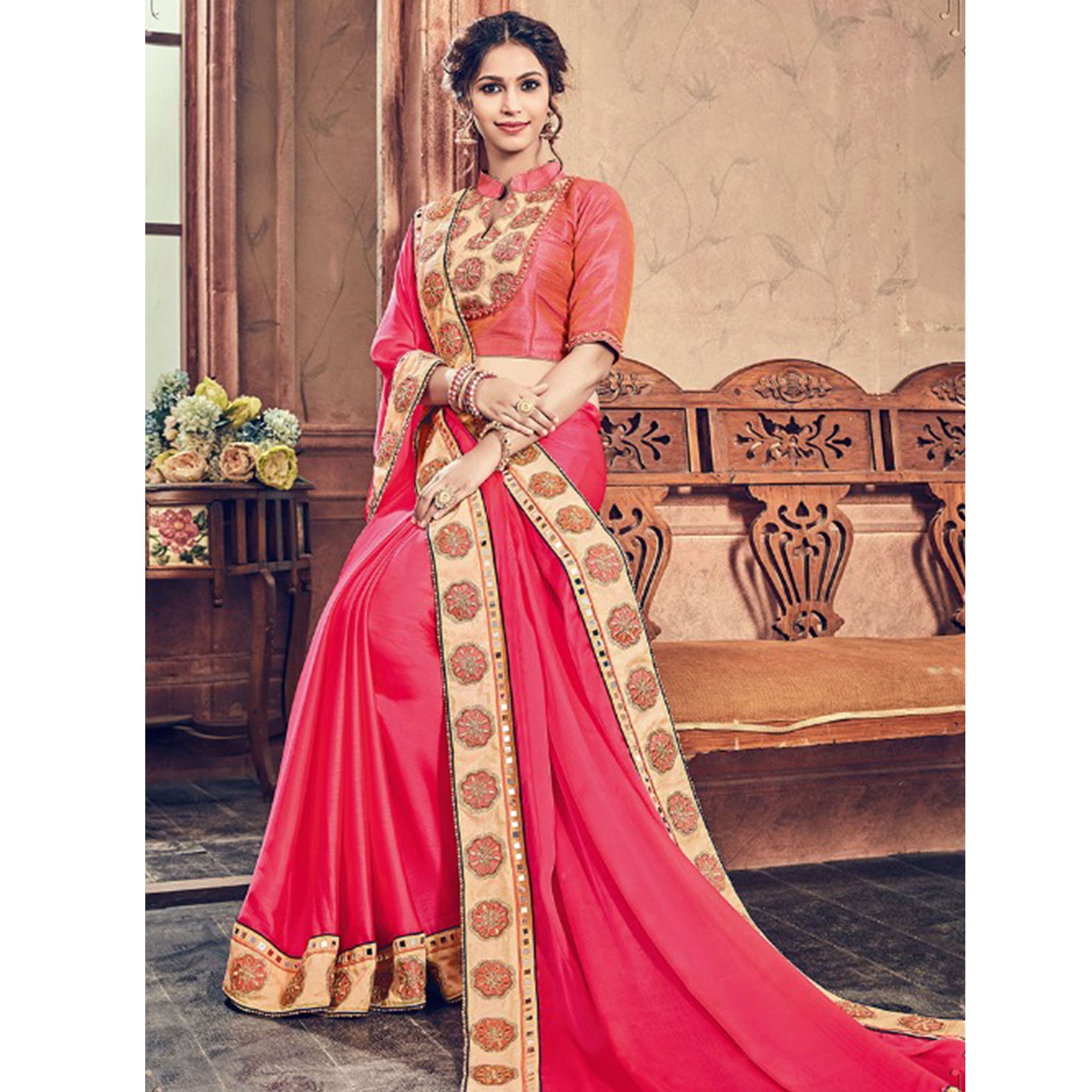 Opulent Pink Colored Party Wear Embroidered Georgette Saree