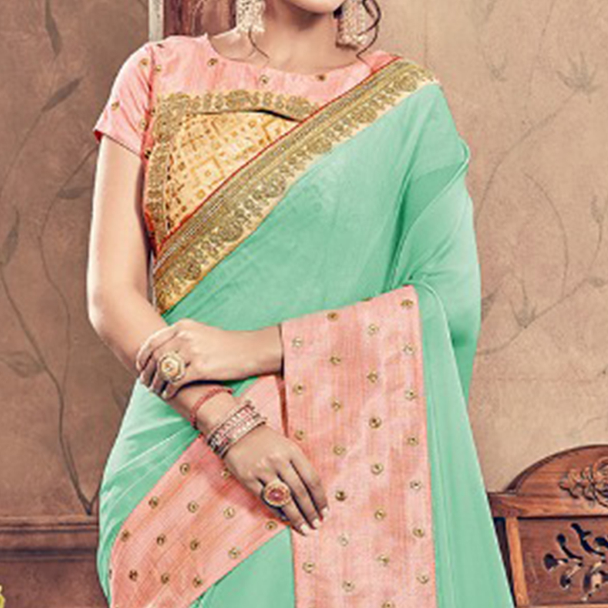 Dazzling Turquoise & Pink Colored Party Wear Embroidered Georgette Saree