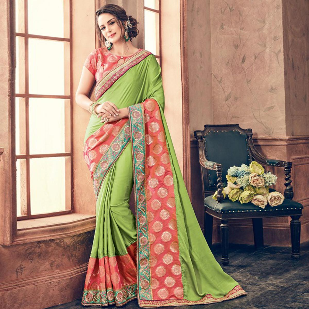 Flattering Green & Pink Colored Party Wear Embroidered Silk Saree