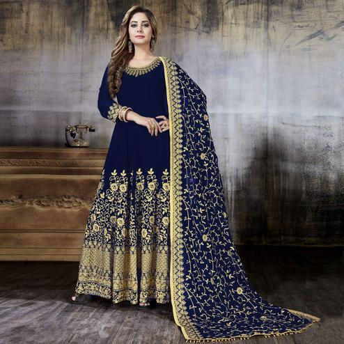 Gleaming Navy Blue Colored Partywear Embroidered Faux Georgette Anarkali Suit