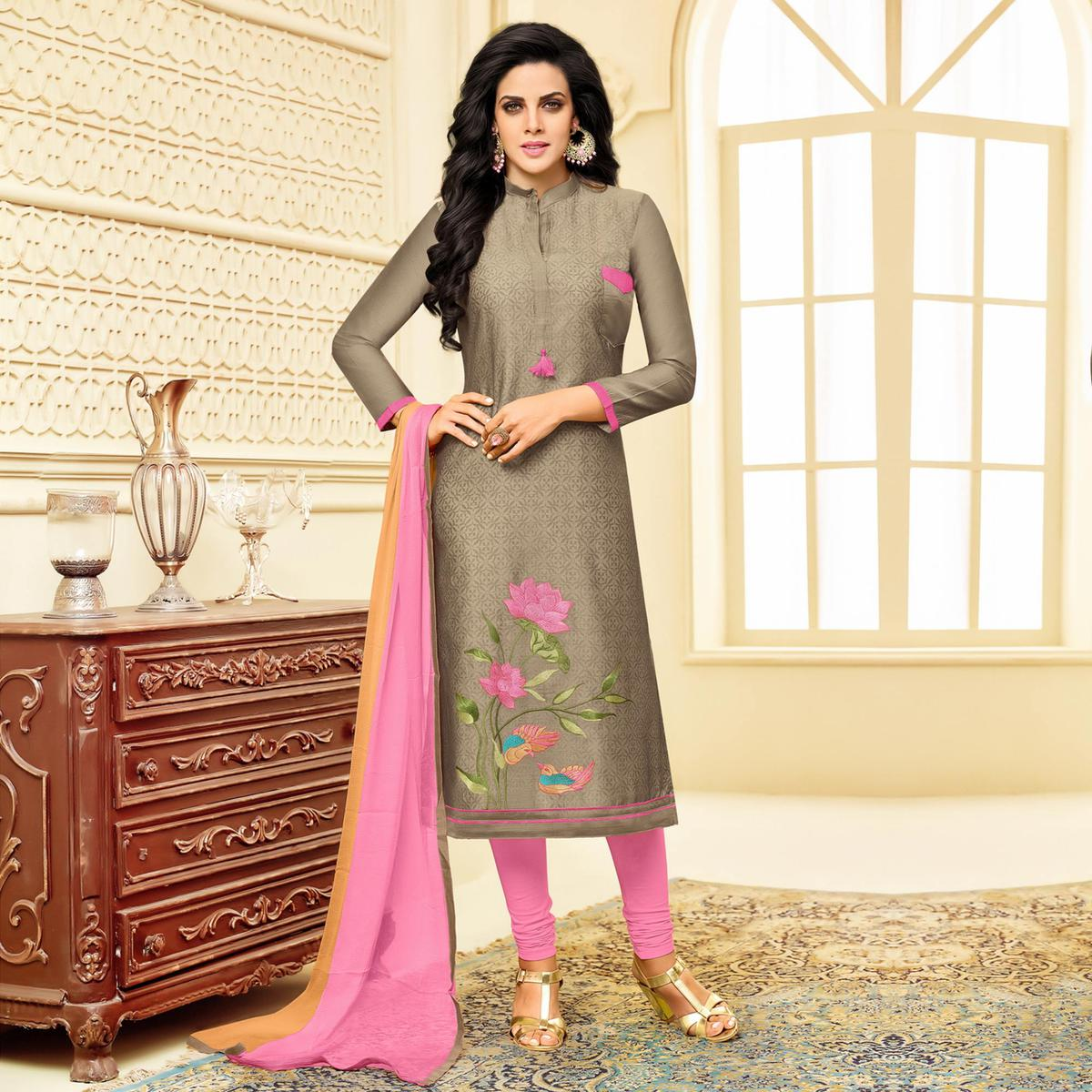 Classy Gray Embroidered Chanderi Salwar Suit