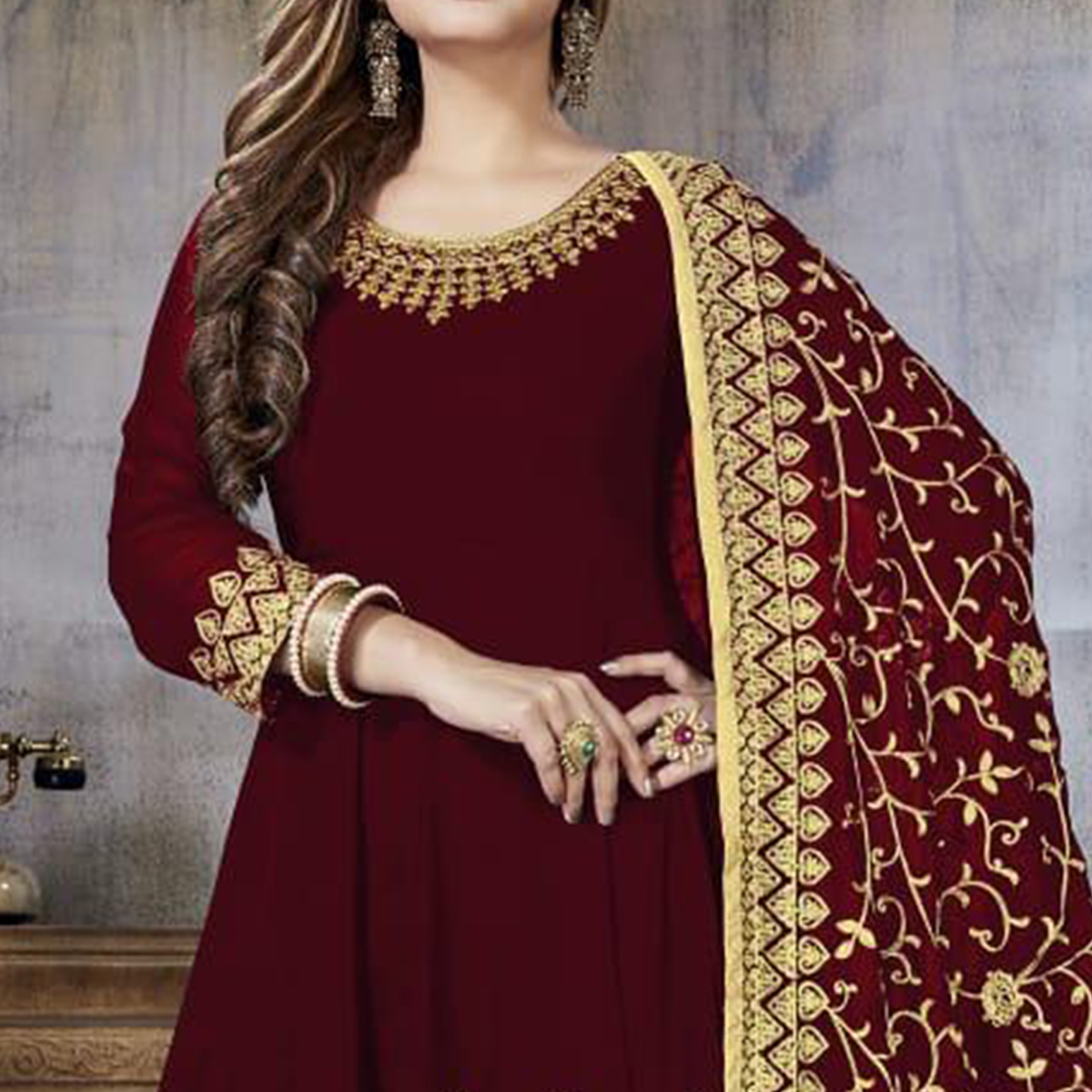 Trendy Maroon Colored Partywear Embroidered Faux Georgette Anarkali Suit