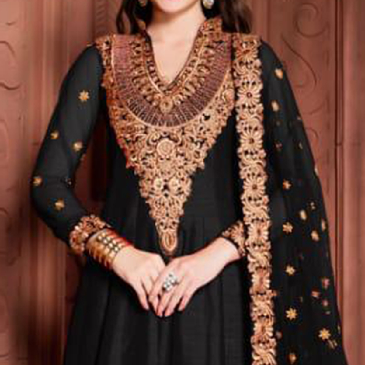 Flaunt Black Colored Partywear Embroidered Banglori Silk Anarkali Suit