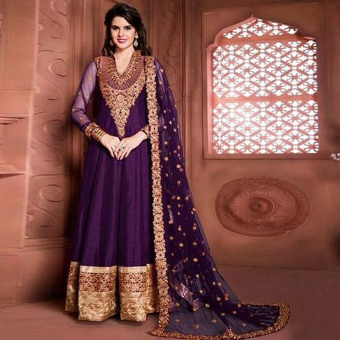 Stunning Purple Colored Partywear Embroidered Banglori Silk Anarkali Suit