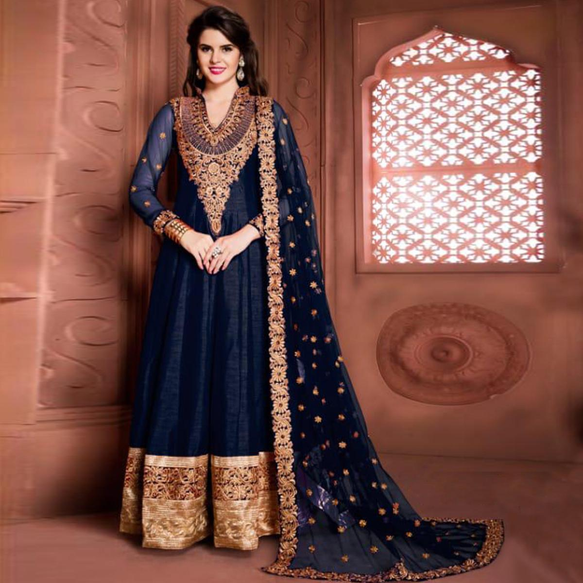 Gorgeous Navy Blue Colored Partywear Embroidered Banglori Silk Anarkali Suit