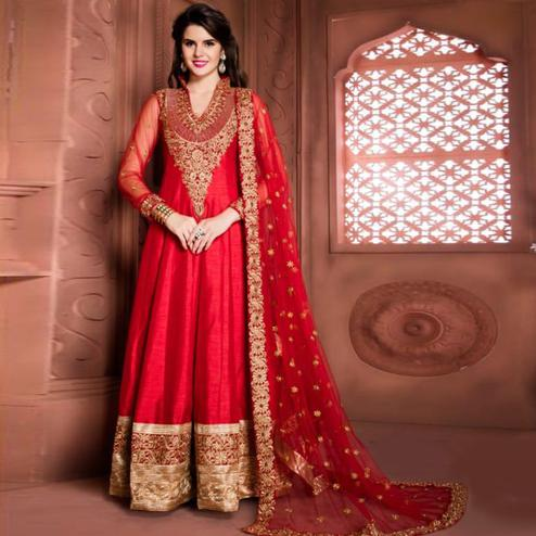 Excellent Pinkish Red Colored Partywear Embroidered Banglori Silk Anarkali Suit