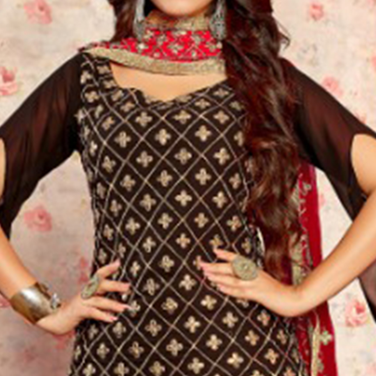 Elegant Black Colored Party Wear Embroidered Georgette Palazzo Suit