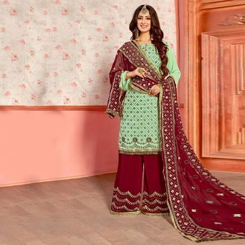 Radiant Mint Green Colored Party Wear Embroidered Georgette Palazzo Suit