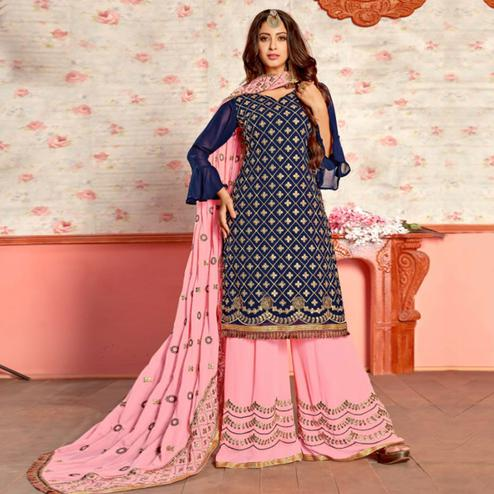 Opulent Navy Blue Colored Party Wear Embroidered Georgette Palazzo Suit