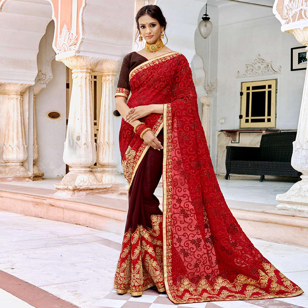 Adorning Red-Maroon Colored Partywear Embroidered Georgette Half-Half Saree