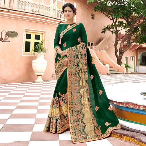 Refreshing Dark Green Colored Partywear Embroidered Georgette Saree