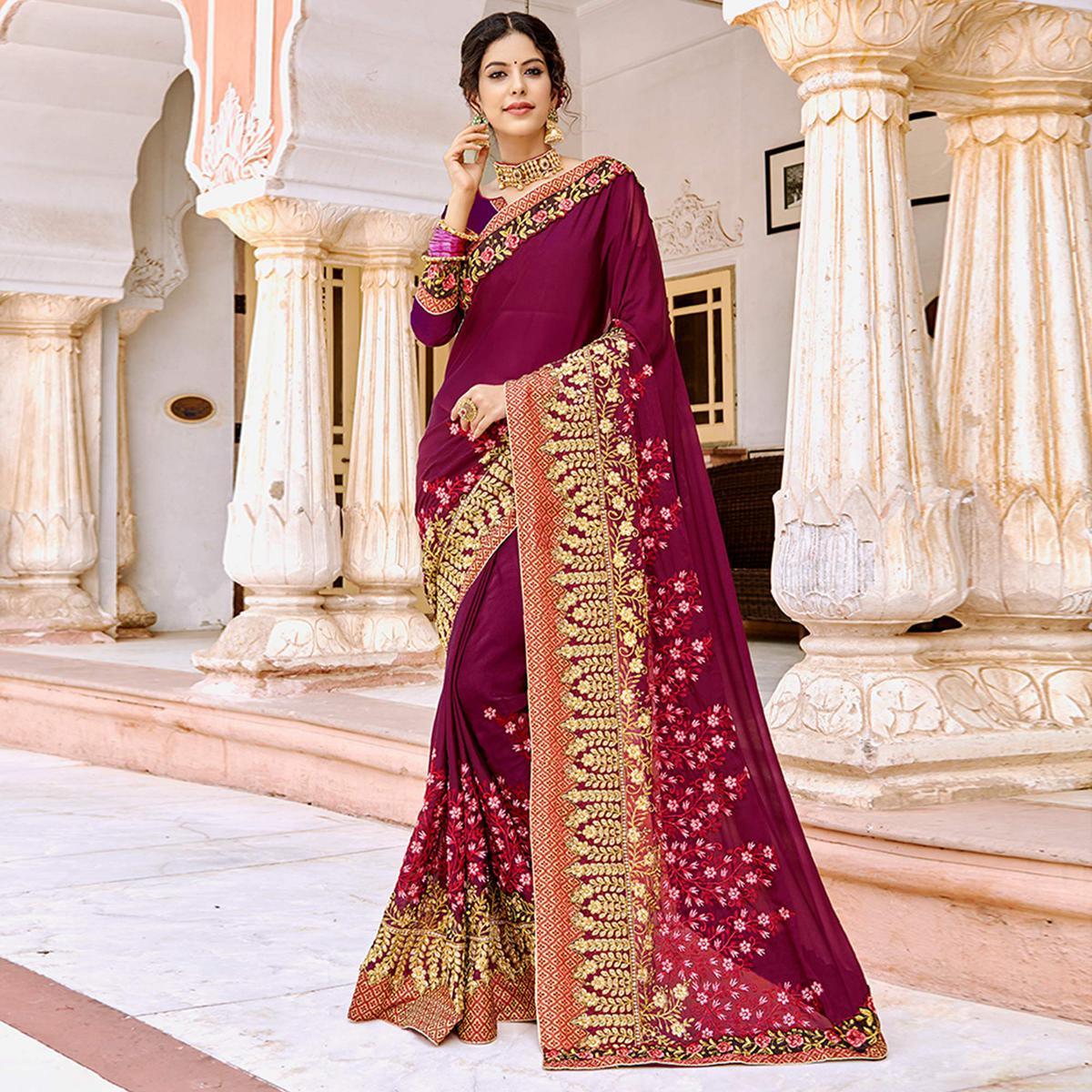 Magnetic Magenta Pink Colored Partywear Embroidered Georgette Saree