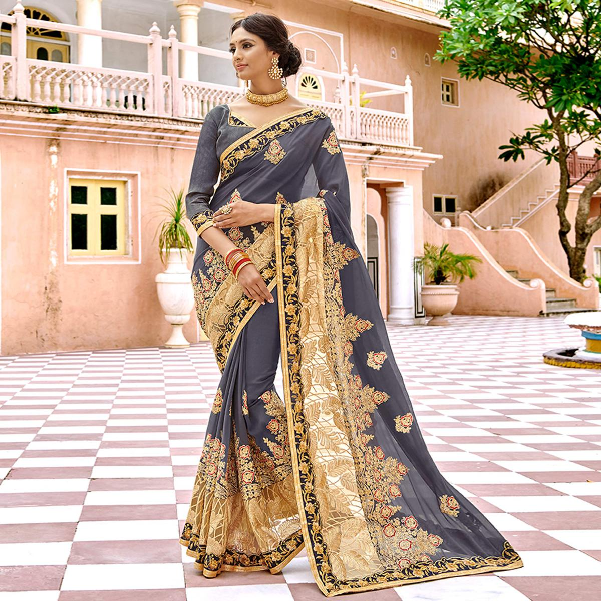 Appealing Gray Colored Partywear Embroidered Georgette Saree