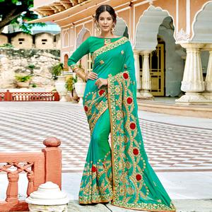 Impressive Turquoise Green Colored Partywear Embroidered Silk Saree