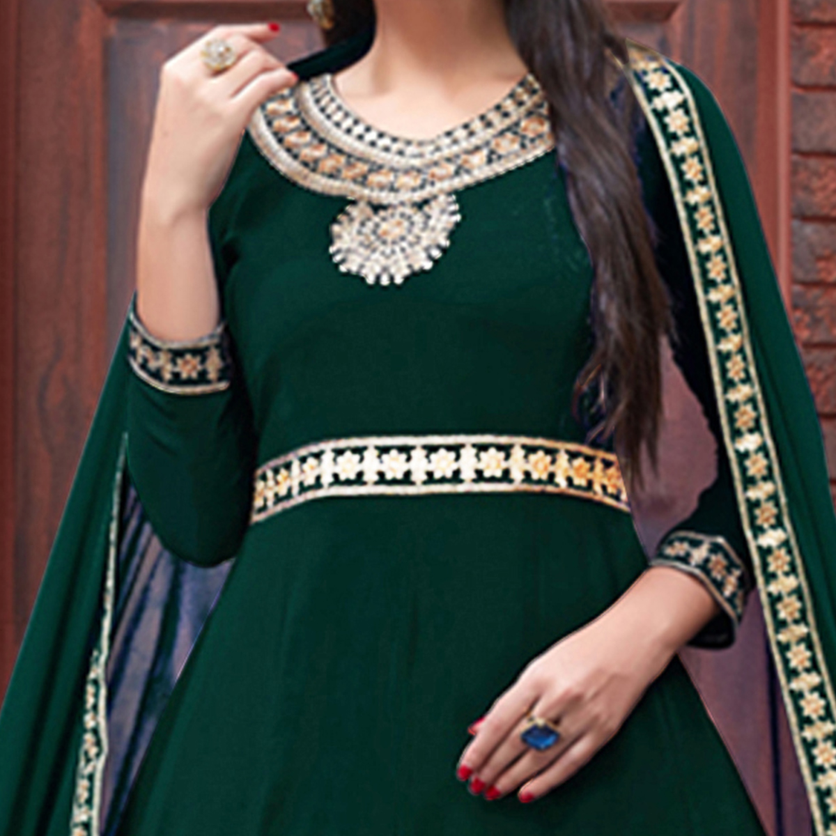 Hypnotic Dark Green Colored Party Wear Floral Embroidered Georgette Anarkali Suit