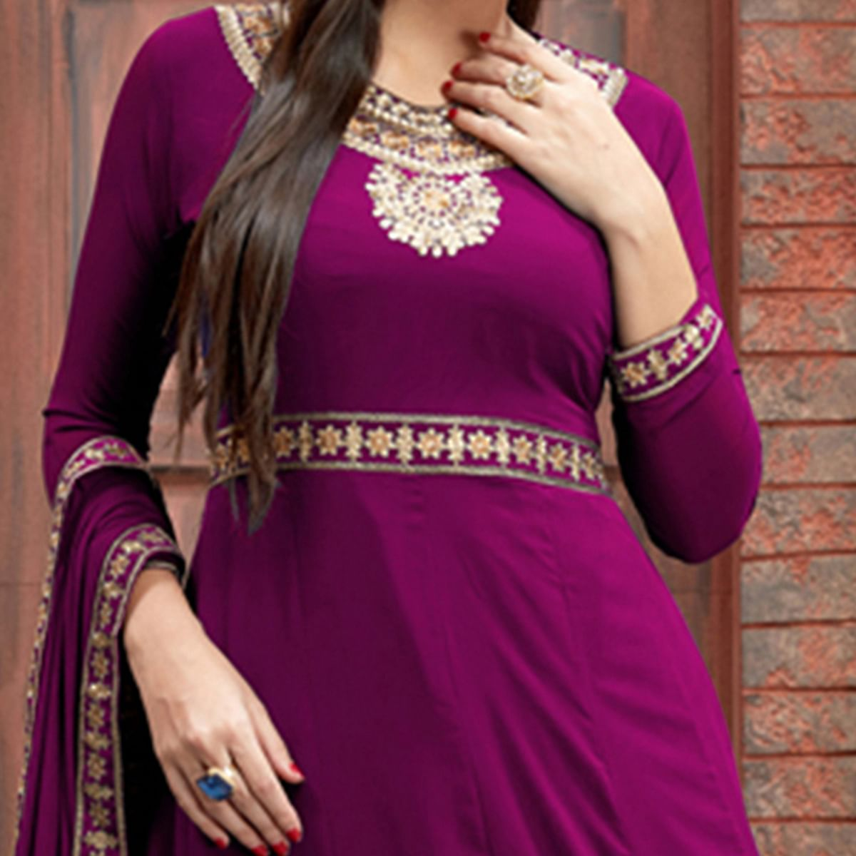 Glowing Dark Pink Colored Party Wear Floral Embroidered Georgette Anarkali Suit