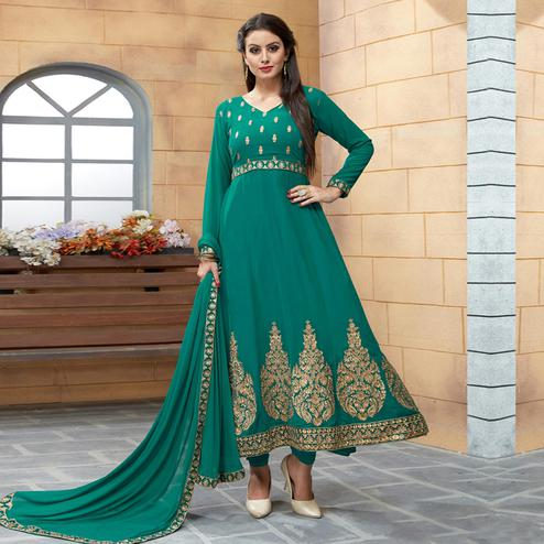 Appealing Green Colored Party Wear Embroidered Georgette Anarkali Suit