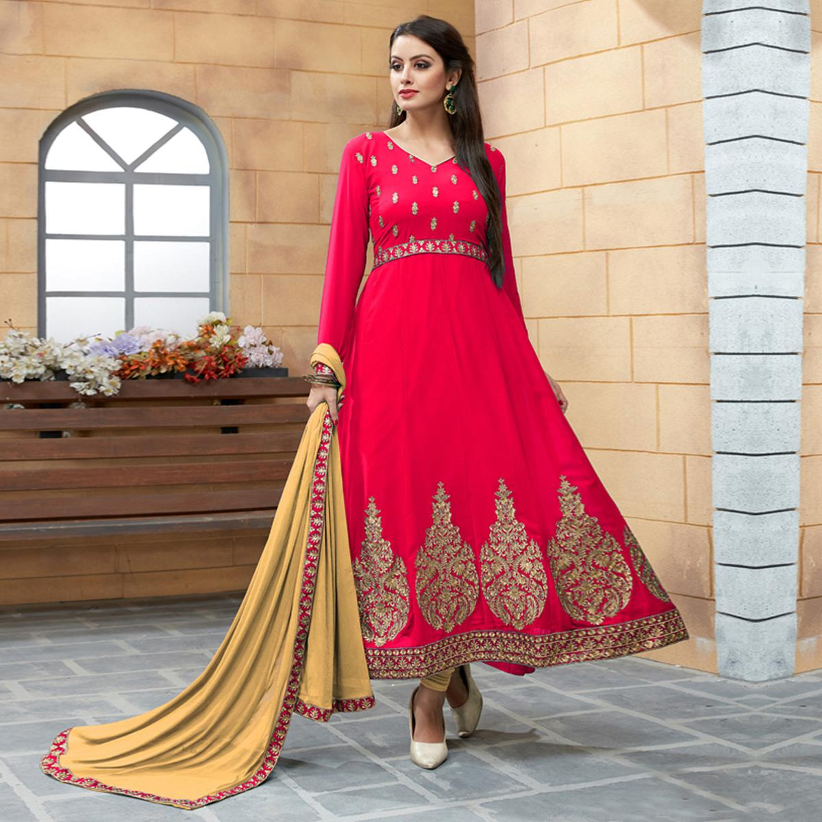 Prominent Pinkish Red Colored Party Wear Embroidered Georgette Anarkali Suit