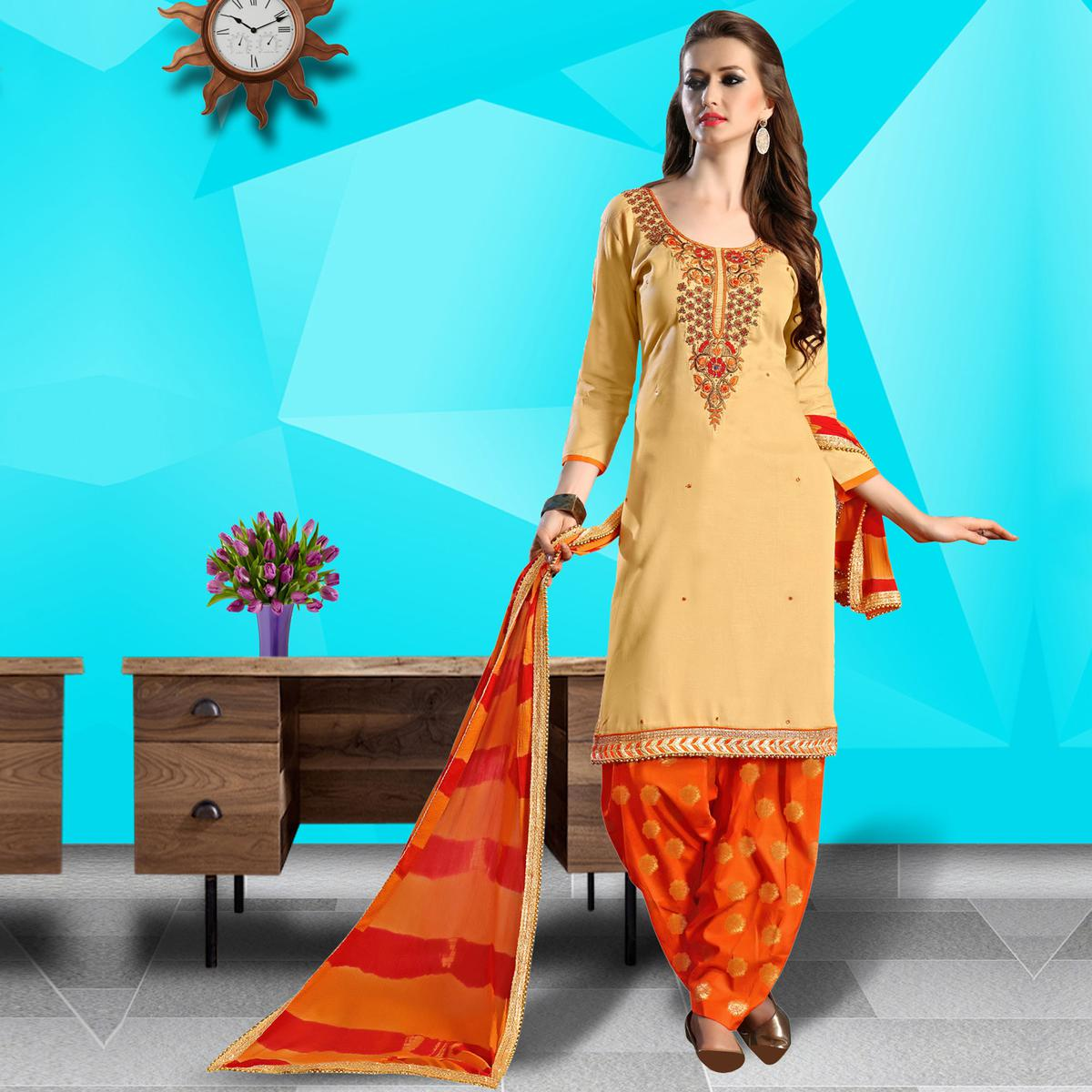 Unique Beige Colored Embroidered Work Cotton Dress Material