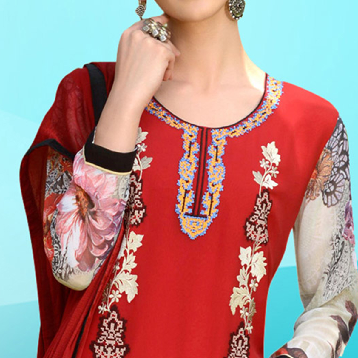 Refreshing Red Colored Embroidered Work Cotton Dress Material