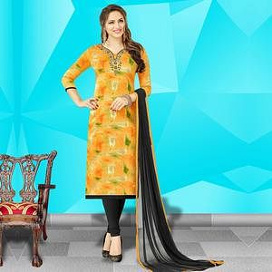 Elegant Yellow Colored Embroidered Work Cotton Dress Material