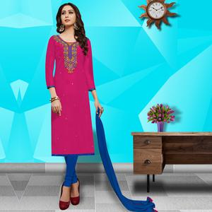 Sensational Pink Colored Embroidered Work Cotton Dress Material