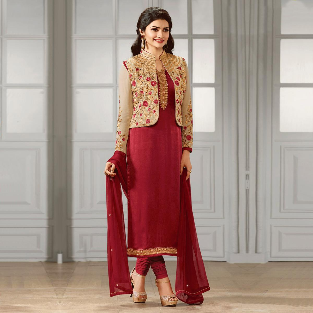 293d469d208 Buy Maroon Party Wear Designer Salwar Suit for womens online India ...